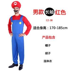 Image 3 - Adult Kids Super Mario Luigi Bros Halloween Costumes Cosplay Show Costume Set Cartoon Mario Uniform Family Parent Child Clothes
