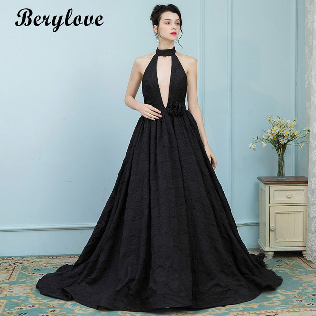 BeryLove Sexy Black Lace Formal Evening Dresses 2018 High Neck Backless Evening  Gowns Long Prom Dresses Special Occasion Dresses 546465d0b25a