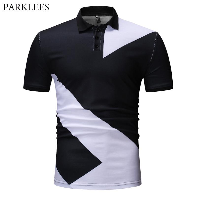 Mens Black White Patchwork Short Sleeve   Polo   Shirt 2019 Brand New Slim Fit Cotton   Polo   Shirts Men Casual Basic   Polos   Para Hombre