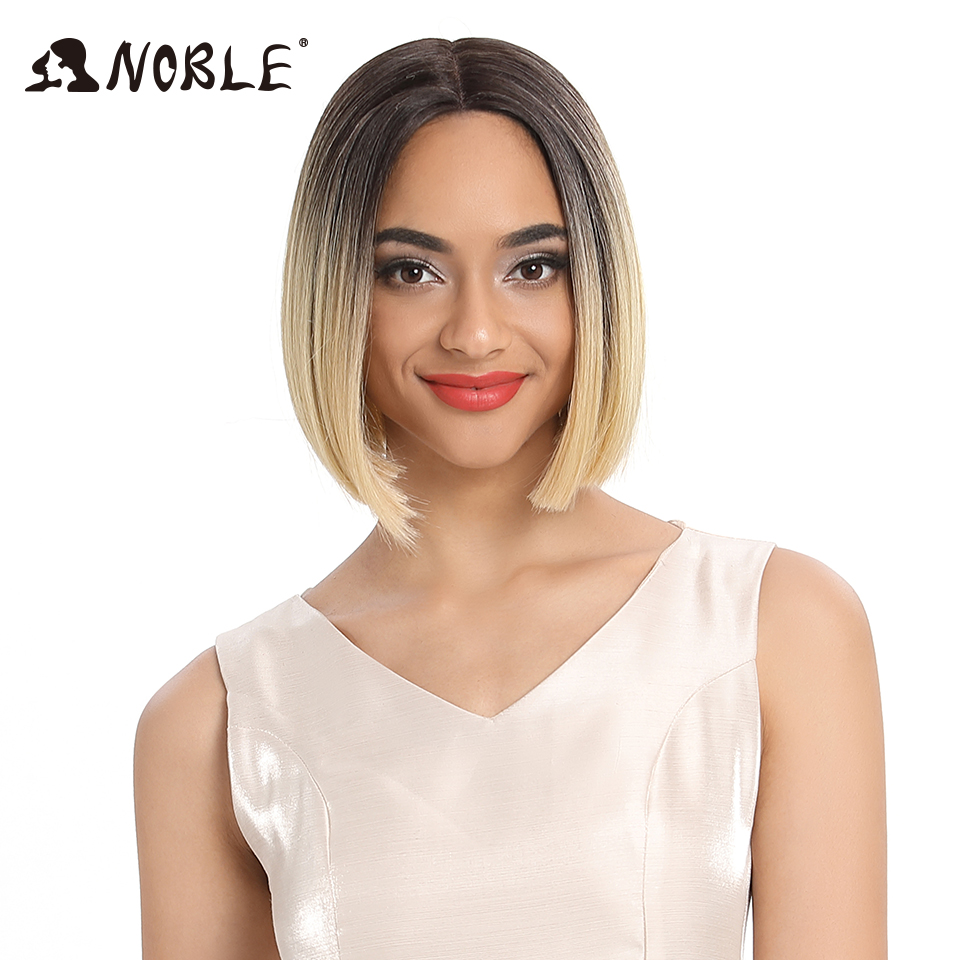 Noble Wig For Black Women 10 Inch Straight Hair Heat Resistant Elastic Lace Synthetic Wigs Cosplay