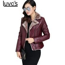 LLUVCLS Faux Cashmere Leather Jacket Women Winter  Black Warm Outerwear Thicken Coats Short Casual Flocking Clothes Big Size