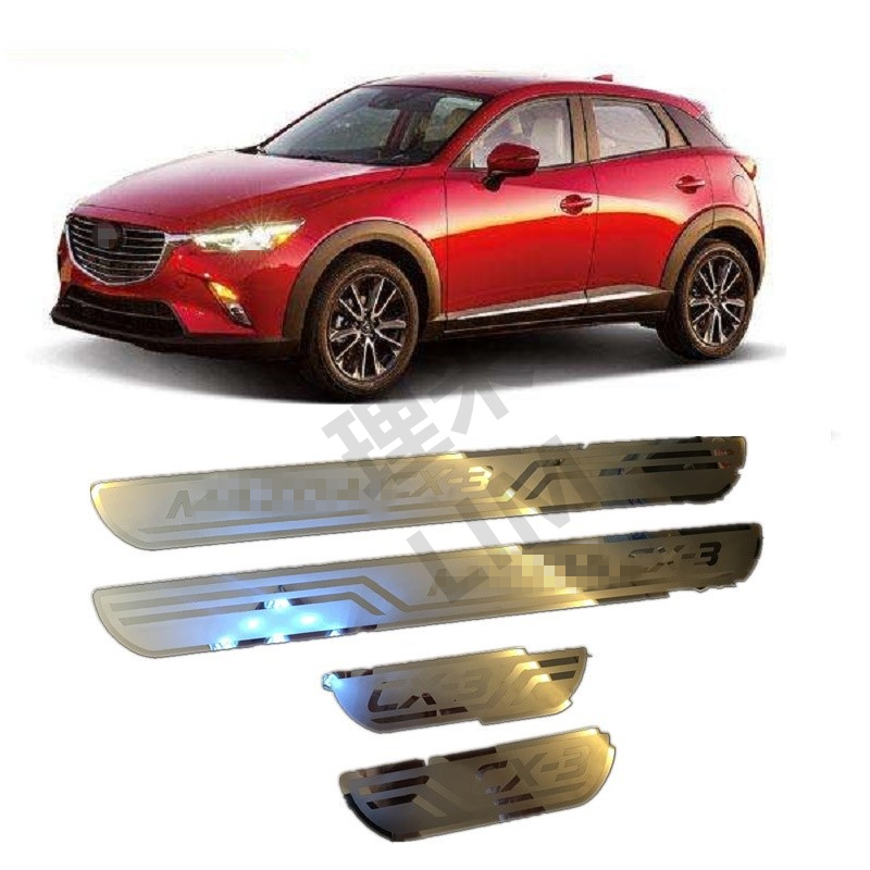 Suitable for Mazda CX-3 CX3 CX 3 2014 2015 2016 Stainless Steel Scuff Plate Door Sill Cover Trim Car Accessories 3 in1 special rear view camera wireless receiver mirror monitor back up parking system for citroen ds3 ds 3 2009 2015