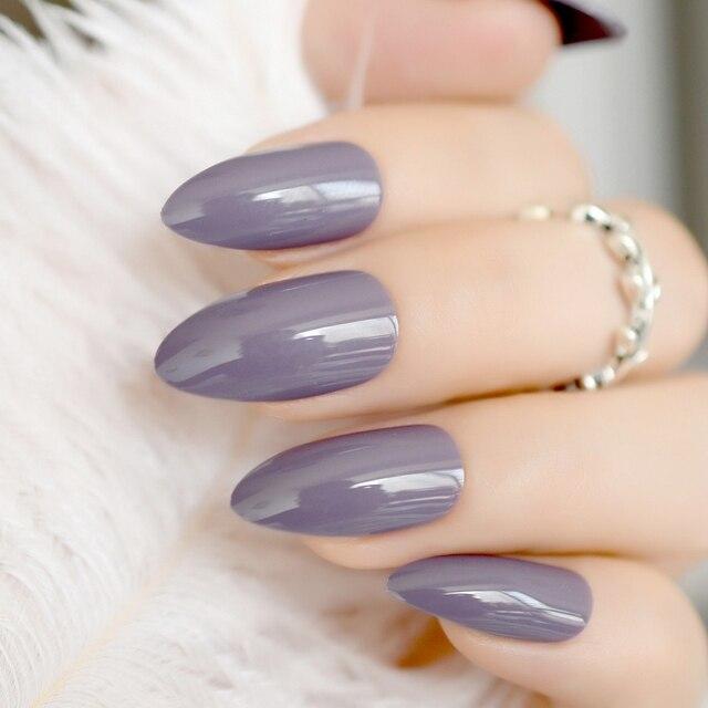 24pcs Shinning Uv Gel Stiletto Nails Almond Design Dark Purple