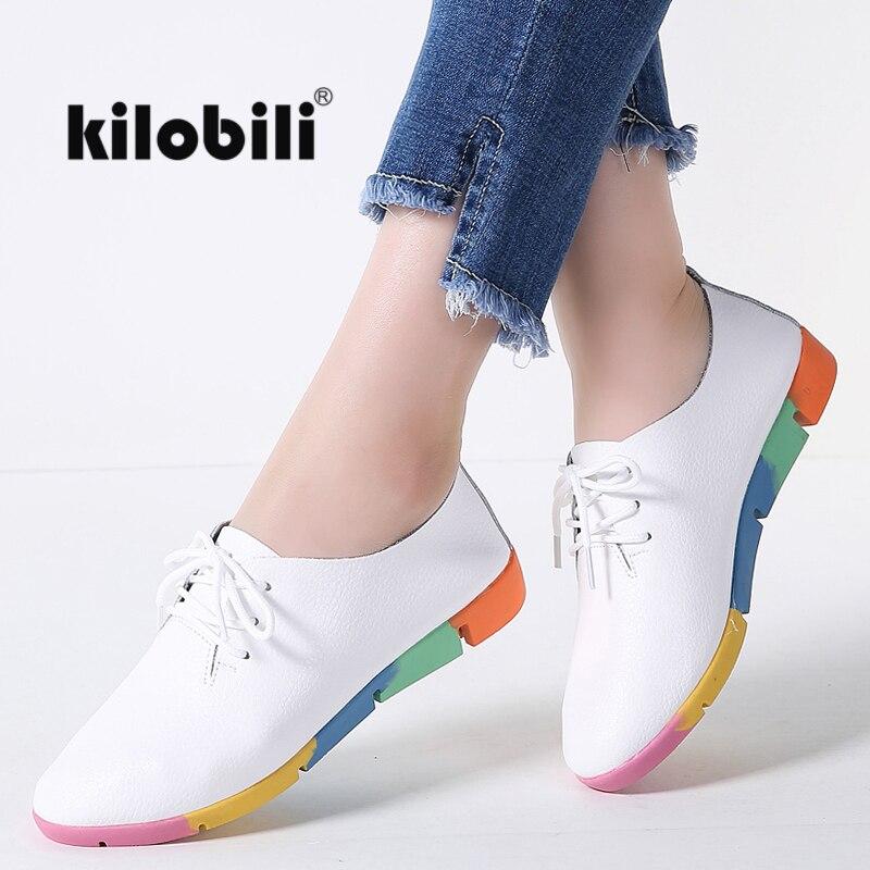 kilobili Women ballet flats shoes oxfords black leather lace up moccains women boat shoes basic casual