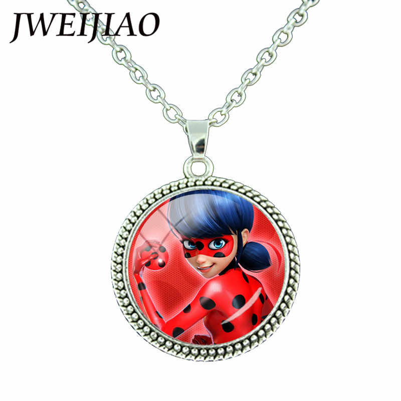 JWEIJIAO Fashion Ladybugs Glass Gems Pendant Necklace Silver Color Round Charms Lady Bug Girl and Black Cat Necklace LB54