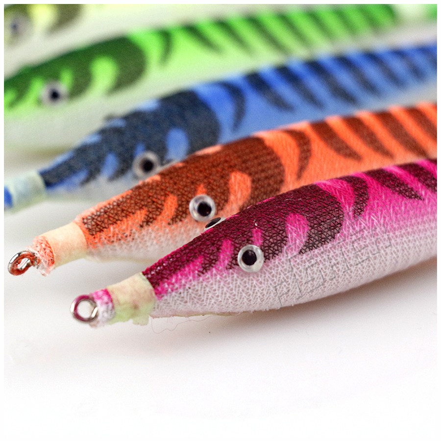 10pcs/Lot Shrimp Bait 10.5cm 7g Squid Jigs Jigging Night Dawn Fishing Lures for Octopus Cuttlefish Artificial pesca Color Random