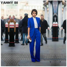 Women Pant Suits Casual Office Business Suits Formal Work Wear Royal Blue Elegant Pant Suits Summer Spring Custom Made(China)