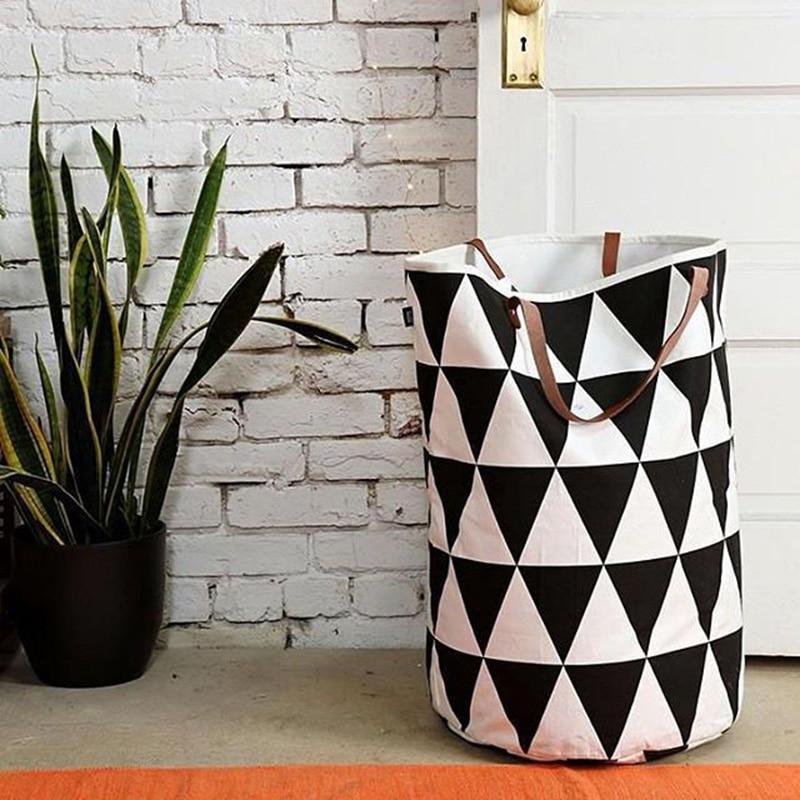 Semicircle Grid Batman Pattern handbag,baby kids Toy Clothes Canvas Laundry basket storage bag With Leather Handles Room Decor