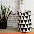 Semicircle Grid Batman Pattern handbag,baby kids Toy Clothes Canvas Laundry basket storage bag With Leather Handles Room Decor
