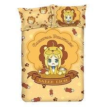 Anime Fate Grand Order Lion Saber Kids Bedding Set Peachskin Uniform Cloth Short Pile Velour Quilt Cover Pillow Case 4PCS
