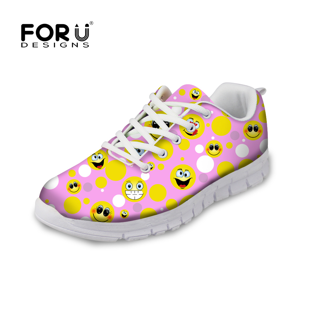 FORUDESIGNS Women's Sneakers Flats Cartoon Emoji Smiley Print Comfortable Breathable Shoes for Women Female Flat Zapatos Casual forudesigns women casual sneaker cartoon cute nurse printed flats fashion women s summer comfortable breathable girls flat shoes