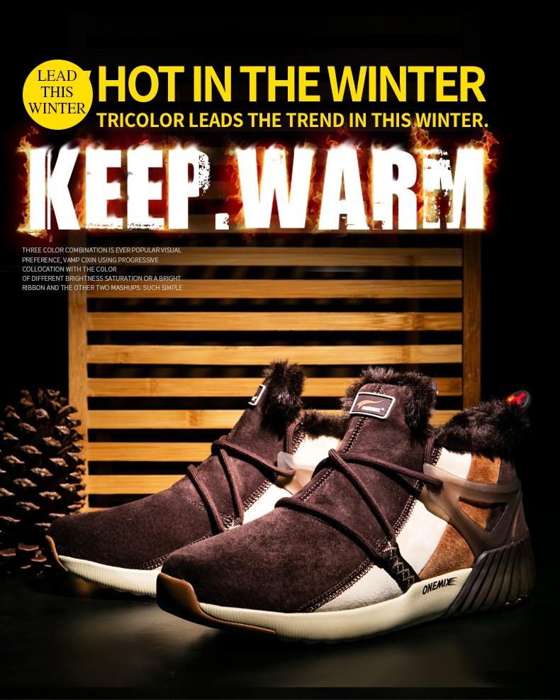 ONEMIX Winter Boots Men & Women Warm Wool Sneakers Outdoors Neutral Sports Sneakers Comfort Running Shoes Sale Size 36-45 6