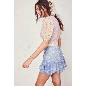 Image 3 - Boho loveshack summer dresses v neck ruffles slim silk like holiday ins bloggers patchwork special interest mini dress pleated