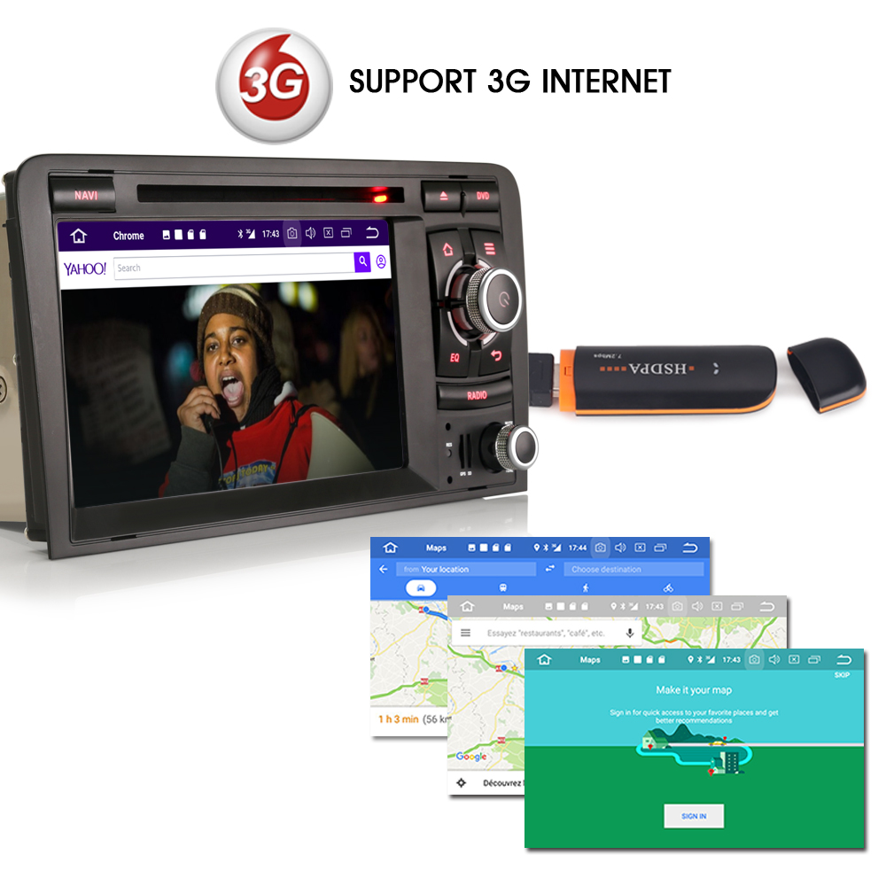Android 8.0 DAB+ Wifi 3G DVD DVR Bluetooth CD RDS OBD Sat Navi DTV-IN Head Unit BT Car Radio player FOR AUDI A3 S3 RS3 RNSE-PU