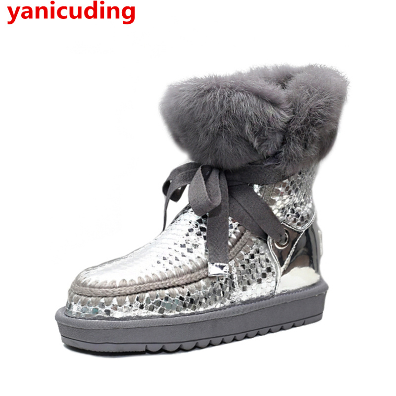Round Toe Fur Decor Women Snow Boots Butterfly Knot Embellished Short Booties Warm Winter Shoes Luxury Brand Party Star Shoes snow fur slip on fashion round toe winter boots women ankle flat shoes celebrity gray bow booties chinese female short new