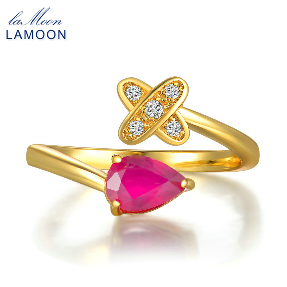 LAMOON Brand 2017 New Romantic Cross Teardrop Real Natural Ruby Rings S925 Sterling Silver Fine Jewelry for Women Party RI056
