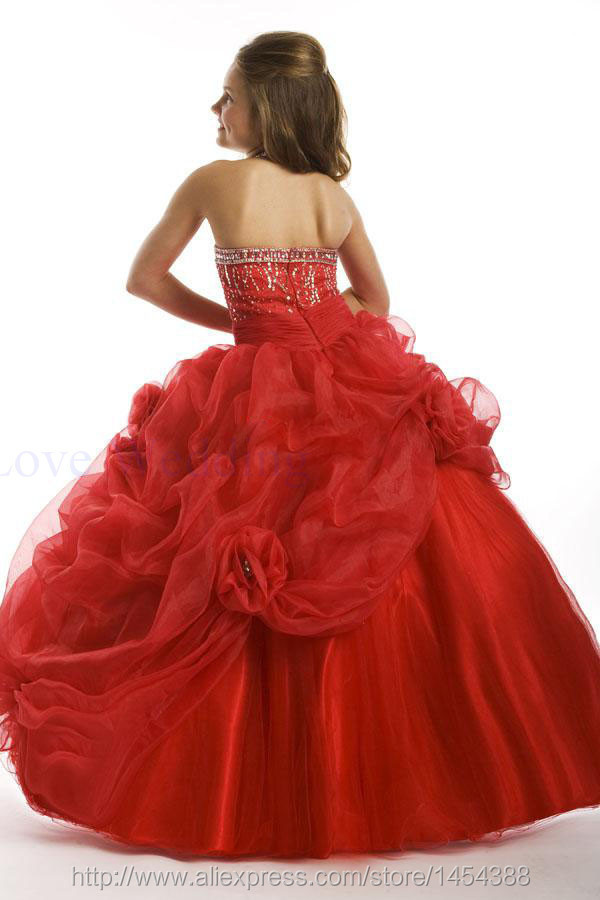 2013 Girl\'s Pageant Gown New Sweetheart Ball Gown Pretty Flower Girl Dress PT1406 (1)