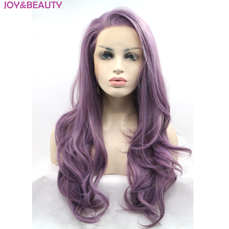 JOY&BEAUTY Hair Women Long Wavy Lace Front Wig Synthetic Hair Purple Mix Heat Resistant Fiber 24inch Long Free Shipping