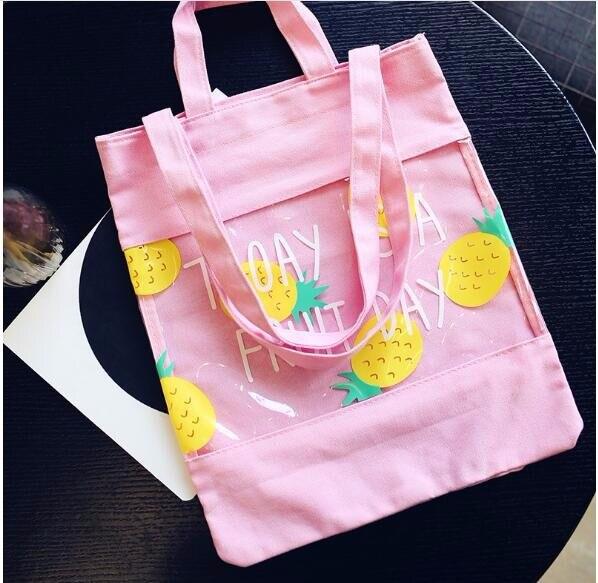 1 шт. сумка фрукты английский Сумки-холсты прозрачная сумка для покупок сращивания Сумочка пляж милые Для женщин желе Ba