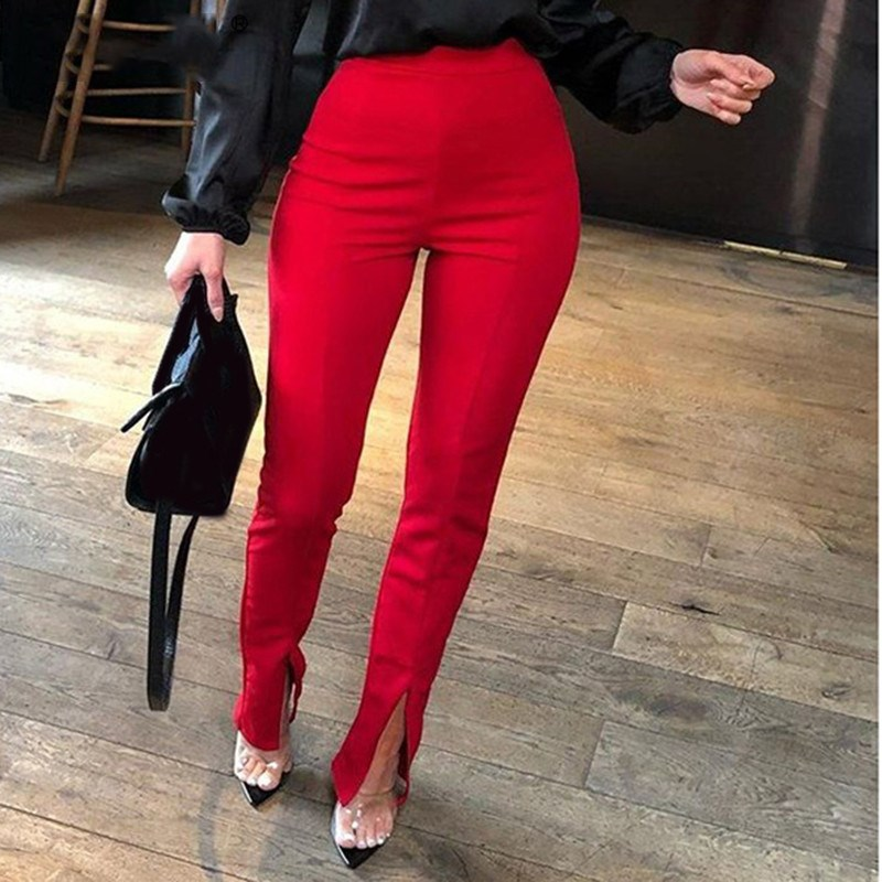 2019 High Waist Split Summer Pants Women Fashion Elastic Sexy Pencil Solid Casual Trousers