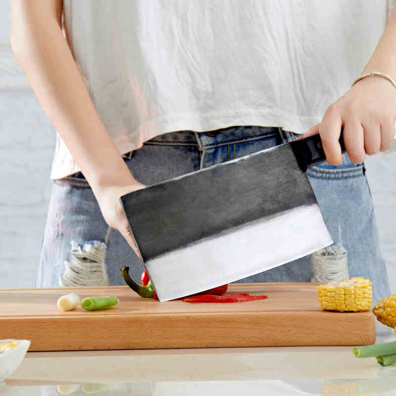 Free Shipping ZGX Handmade Kitchen Professional Chef Chop Bone Slice Meat Dual purpose Forged Cutting Bone