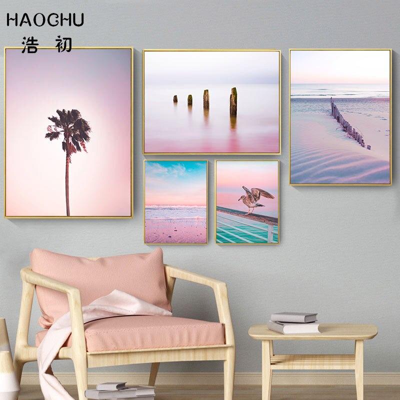 HAOCHU Nordic Poster Pink Ocean Landscape Painting Coconut Tree Stump Sea Bird Snow Landscape Canvas Painting Art Print Poster