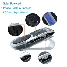цена на Free Shipping Solar Powered  Bluetooth Car Kit LCD Display Hands Free Bluetooth Speaker with car harger Libres Bluetooth Car Kit