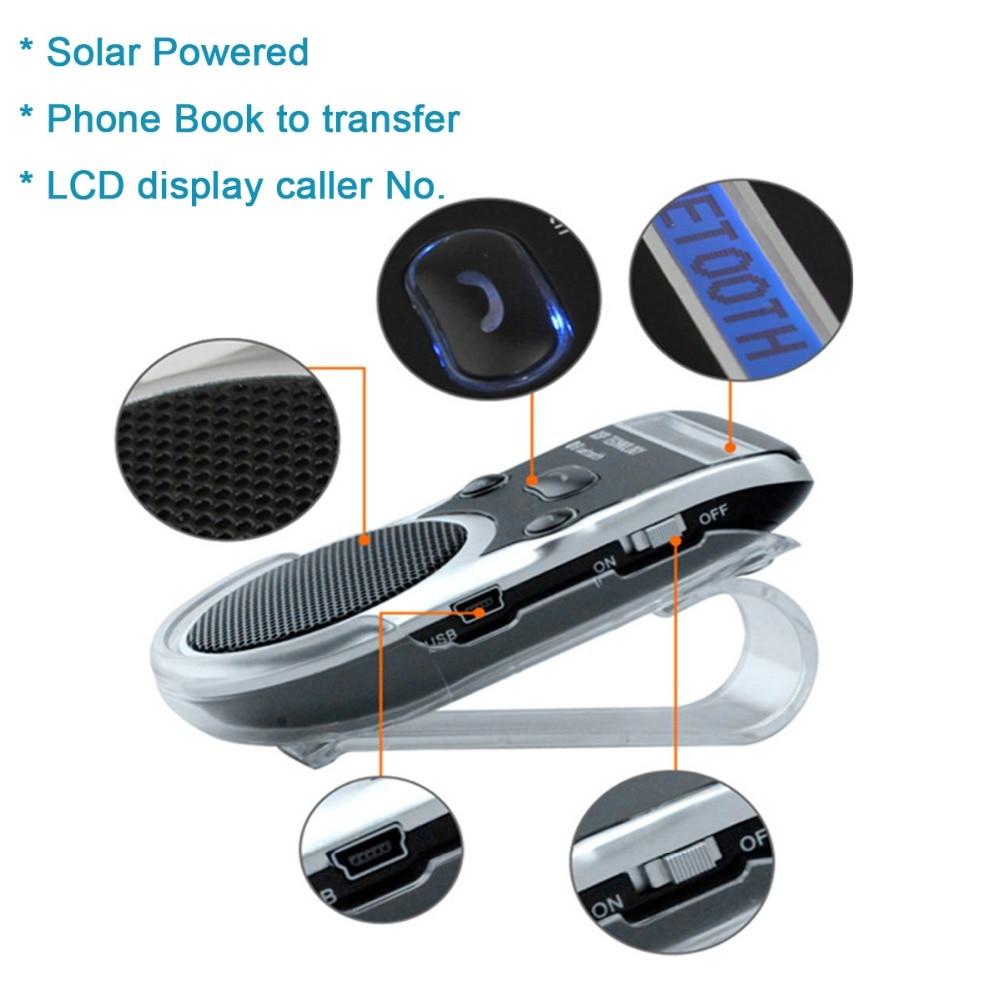 Siparnuo solaire Aux voiture Bluetooth haut parleur téléphone pare soleil mains libres haut parleur avec USB Bluetooth mains libres Carkit|bluetooth car kit lcd|bluetooth car kit|car kit - title=