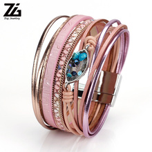 ZG Latest Leather Bracelet Women Jewelry in 3 Colors with Peacock Blue Crystal Charms 19cm