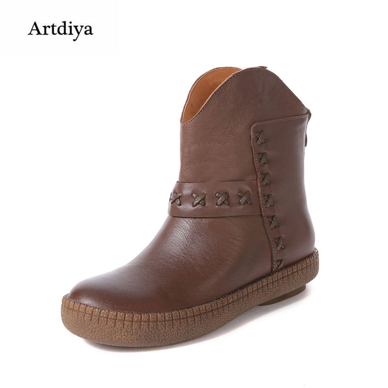 Artdiya 2018 Autumn / Winter New Original Handmade Retro Genuine Leather Women Boots Comfortable Round Toe Ankle Boots DS306-1 huizumei new genuine leather women s boots autumn and winter shoes retro handmade round toe soft bottom rubber ankle ladies boot