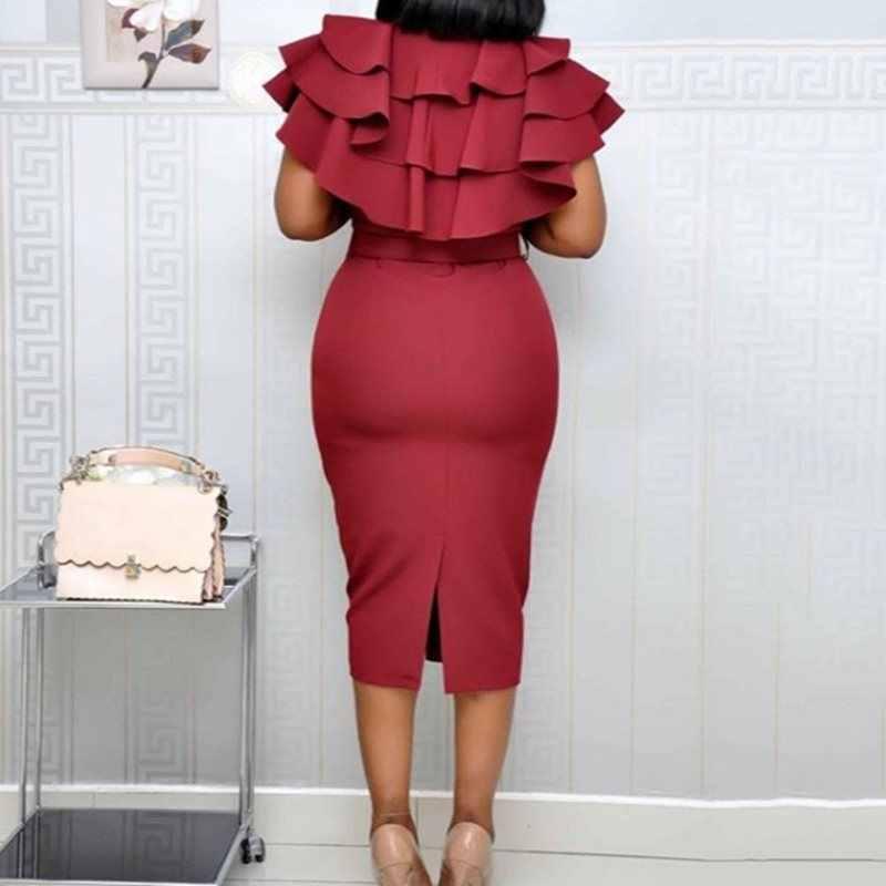 До середины икры Falbala короткий рукав пуловер простое платье для женщин Летнее гофрированное Элегантный цвета красного вина Bodycon миди платье
