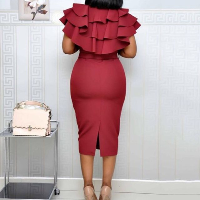 Mid-Calf Falbala Short Sleeve Pullover Plain Dress Women Summer Ruffle Elegant Wine Red Bodycon midi Dress