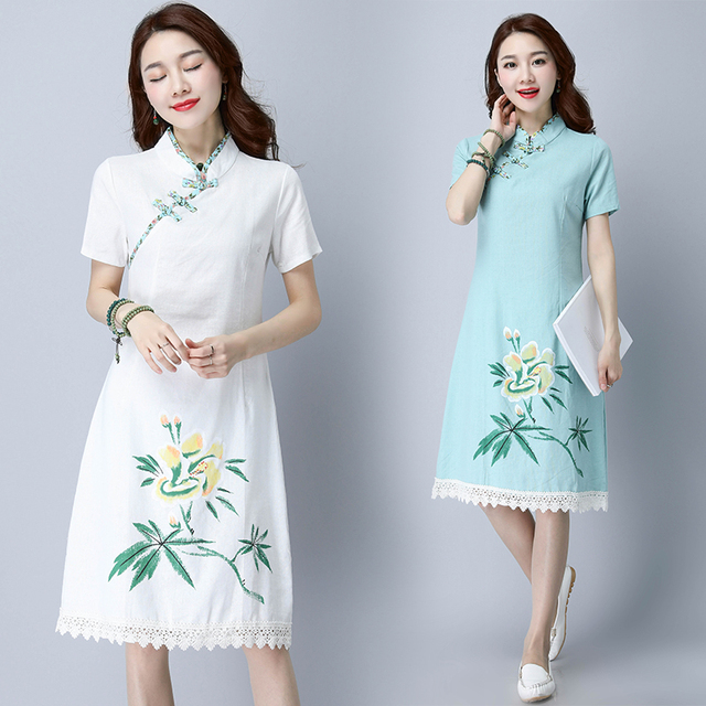 aa9922de9 Ropa 2017 vestidos coreanos del estilo del verano del resorte nueva  restaurar impresión china estilo lindo