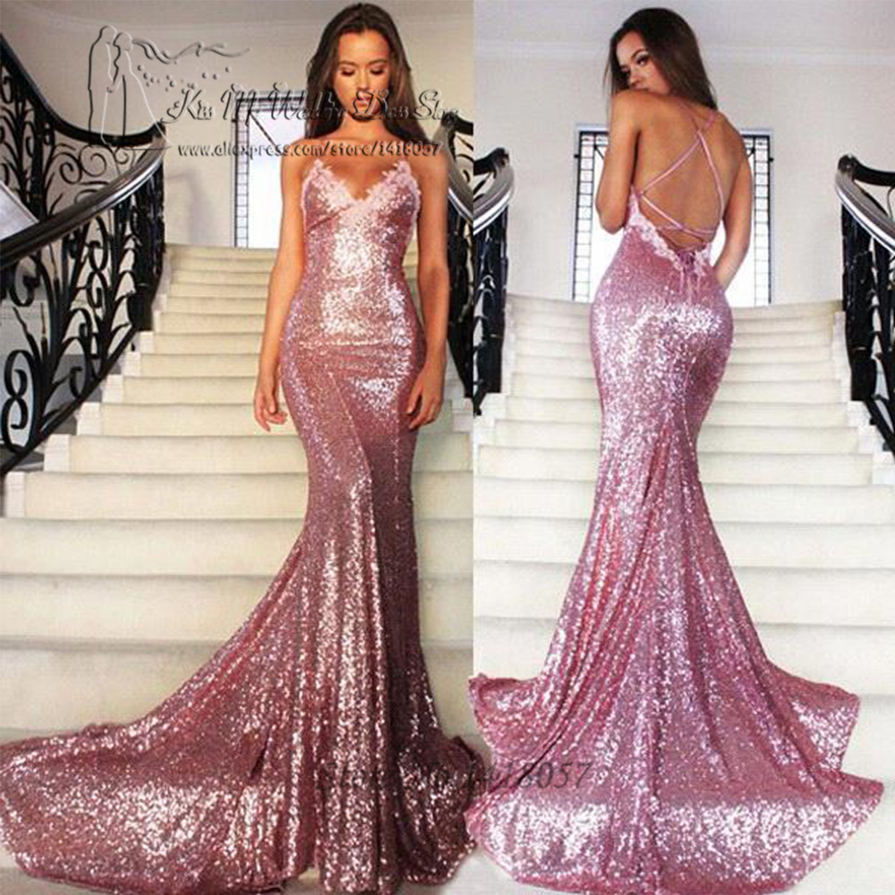 Spaghetti Straps Cheap Long Evening Dresses Pink Sequin Sexy African Prom Dresses 2017 Mermaid Party Dress