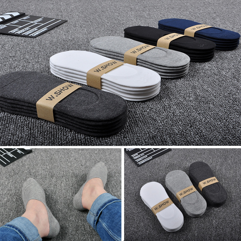 5 Pairs/Lot New Cotton Men Invisible Socks Men Sock Slippers Silicone Soft Breathable Sweat Absorpt Anti-skid Solid Summer Socks