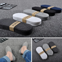 5 Pairs/Lot New Cotton Men Invisible Socks Men Sock Slippers Silicone Soft Breathable Sweat absorpt Anti skid Solid Summer Socks