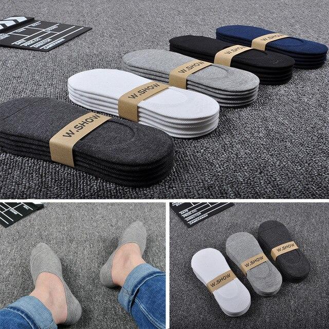 جوارب رجالي غير مرئية من القطن جديدة 5 زوج/وحدة جوارب من السيليكون الناعم يسمح بمرور الهواء وممتصة للعرق ومضادة للانزلاق جوارب صيفية صلبة