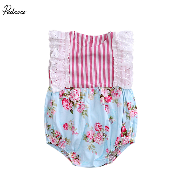 75fc3a5d52e4 New 2017 Newborn Baby Girls Summer Lace Floral Ruffled One Piece ...