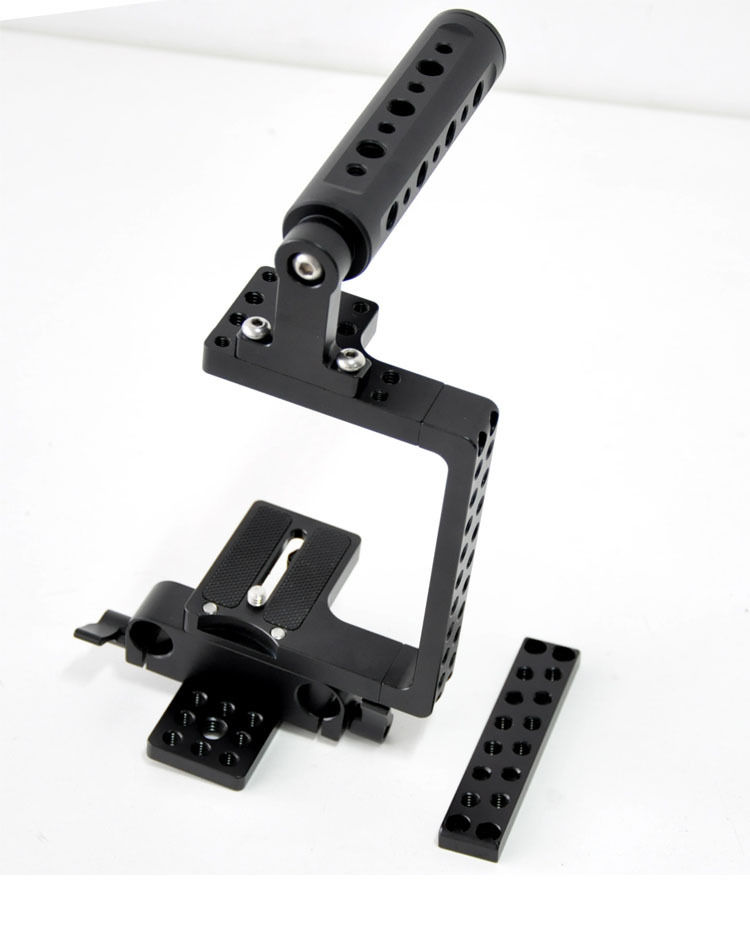 Handgrip DSLR Camera Cage Rig Baseplate for Sony A7S A7II A7 Camera fou Lumix GH3 GH4 Cameras NEX-5T A5100 A6000 & BMPCC ylg0102h dslr shoulder mount support rig double hand handgrip holder set for all video cameras and dv camcorders