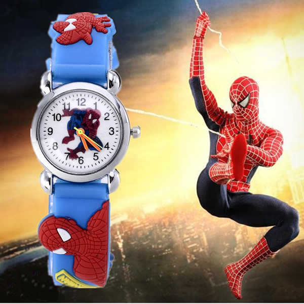 2018 Hot Sale Spiderman Watches Children Cartoon Watch Kids Cool 3D Rubber Strap Quartz Watch Clock Hours Gift Relojes Relogio hot sale star wars boys cartoon watch lovely girl children watches pu strap quartz wristwatch kids dress rectangular clock