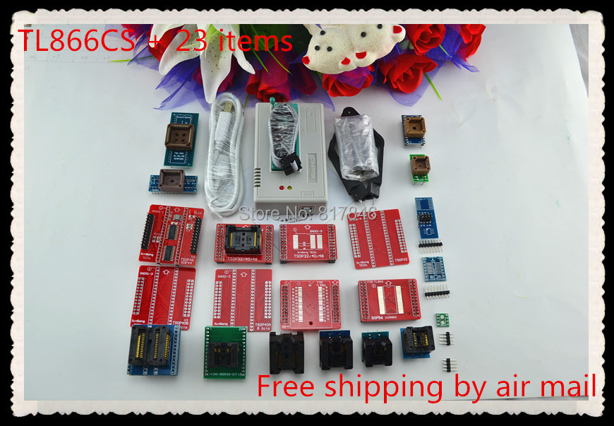 Free Shipping 2017 newest version V6.6 Original TL866CS Programmer USB Universal Bios Programmer+23 pcs items+SOIC8 clip free shipping mini pro tl866cs usb bios universal programmer kit with 5 pcs adapter