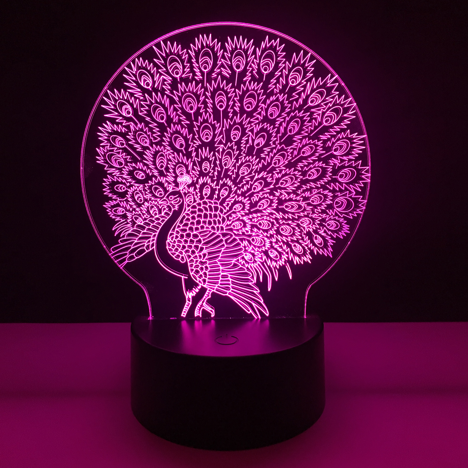 Colorful Peacock 3D Night Light USB Touch Table Lamp for Kids Gift 3D Optical Illusion Bulb Lamp Bedside Lamp for baby bedroom