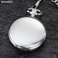 BOAMIGO brand  FOB pocket watches fashion mechanical hand wind skeleton watches  silver gift clock alloy case with chain