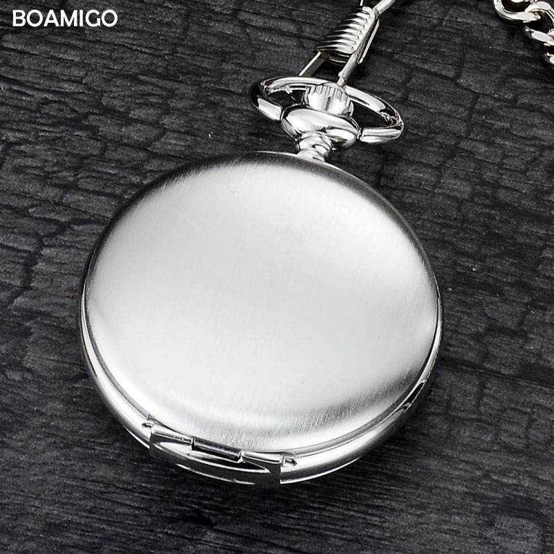 BOAMIGO brand FOB pocket watches fashion mechanical hand wind skeleton watches silver gift clock alloy case with chain unique smooth case pocket watch mechanical automatic watches with pendant chain necklace men women gift relogio de bolso