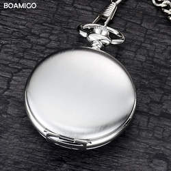 Бренд вoamigo FOB карманные часы Мода механический ручной взвод скелет часы Серебряный подарок часы сплав чехол с цепочкой
