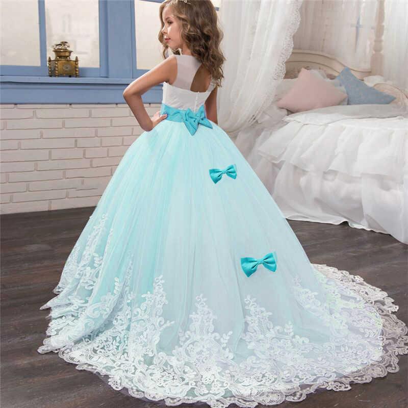 93795de98a2b1 Mint Lace Flower Girl Dresses Children Long Tulle Kids Princess Costume  First Communion Gown Fancy Christmas Party Ball Dress