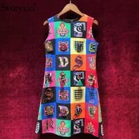 Svoryxiu Runway Custom Summer A Line Tank Dress Women's Vintage Colours lattice Print Crystal Diamond luxury Party Short Dresses