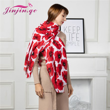 Jinjin.QC New Women Scarf Cotton Polyester Material Floral Pattern White & Red Casual Scarves 180x90cm All Seasons Lightwear