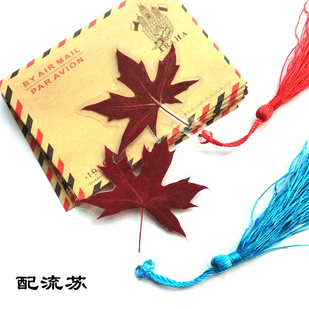 Beijing Xiangshan Red Maple Leaf Bookmark Card, Natural