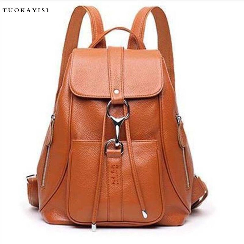fashion genuine Leather backpack women casual Urban female travel bags Wild school bags Small Lady Shoulder Backpack Bag 2016 newest wave fashion backpack women casual dackpacks backpack school leisure travel school bags women s shoulder bags bolsos